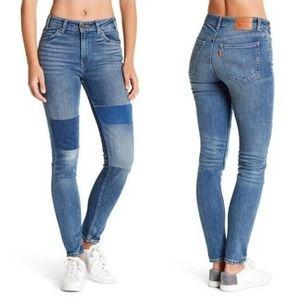 Levi's 721 Vintage Orange Tab High Rise Patch Jeans, Size 27